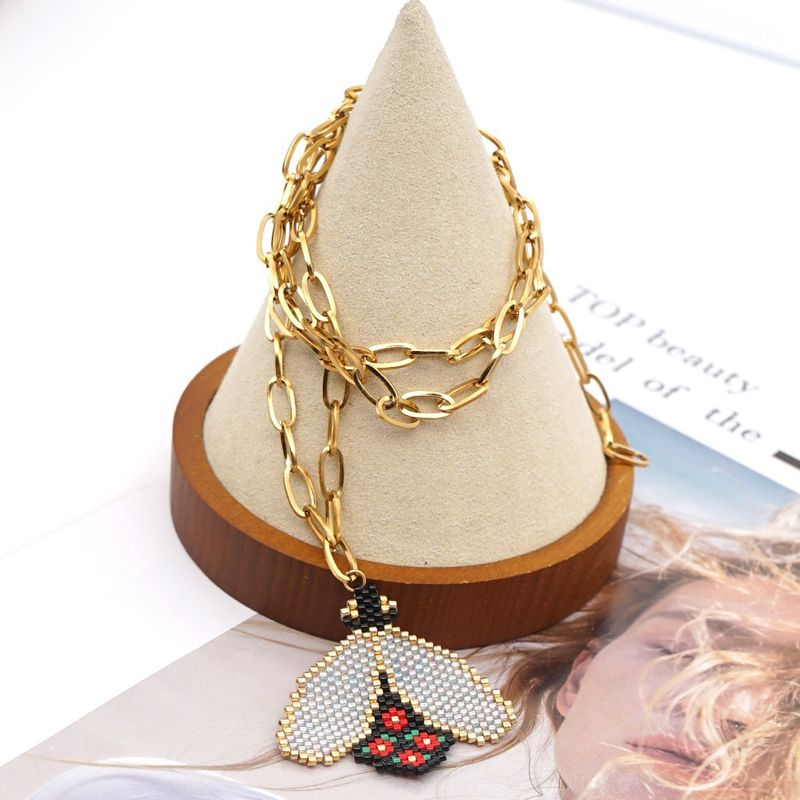 allmatch Ochain rice bead woven bee handmade stainless steel necklace for women NHGW261831