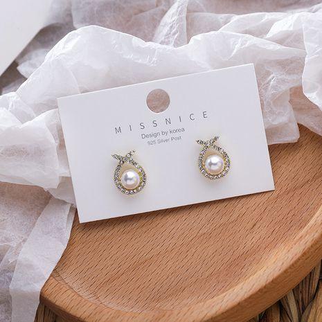 Pendientes de perlas de diamantes cruzados geométricos de moda simple de aguja de plata 925 coreana NHMS261842's discount tags
