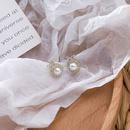 Korean 925 silver needle simple fashion geometric cross diamond pearl earrings  NHMS261842