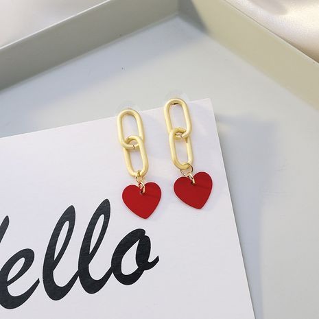 S925 silver needle simple  wild matte chain girls red love earrings for women NHMS261847's discount tags