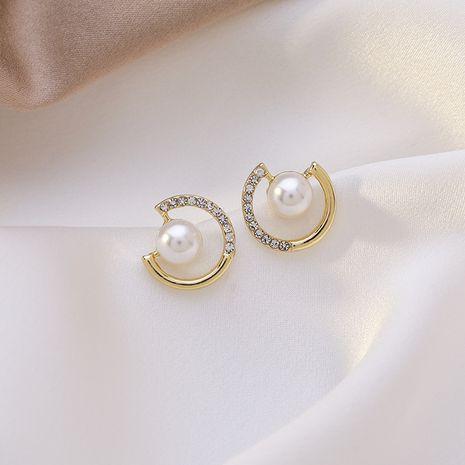 925 silver needle pearl rhinestone round new trendy Korean earrings for women NHMS261848's discount tags