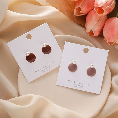 new cute girly round pink sweet pearl drop oil disc earrings NHMS261849's discount tags