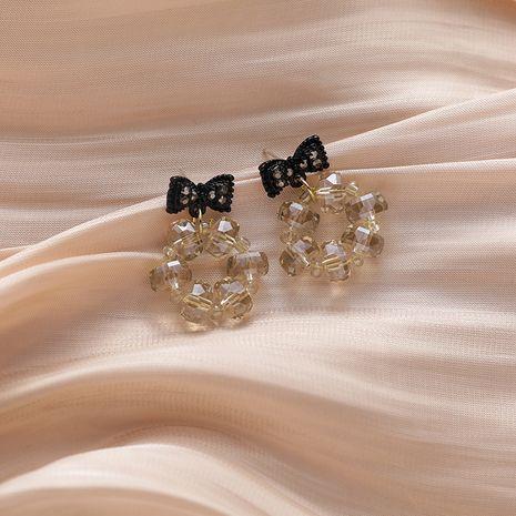 s925 argent aiguille noire forme d'arc cercle de cristal simple boucles d'oreilles douces et belles pour les femmes NHMS261851's discount tags