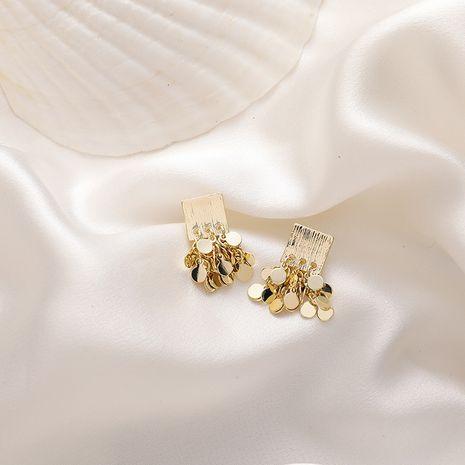 Korea Metal Square Sequins Tassel Earrings  NHMS261855's discount tags