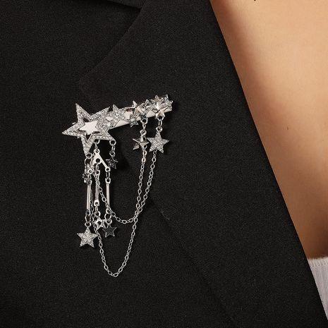 Borla salvaje retro Corea nuevo diamante completo multicapa hueco estrella broche de cinco puntas NHKQ261867's discount tags