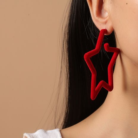 Korea's new exaggerated hollow five-pointed star fashion retro wild thin flocking alloy earrings NHKQ261870's discount tags
