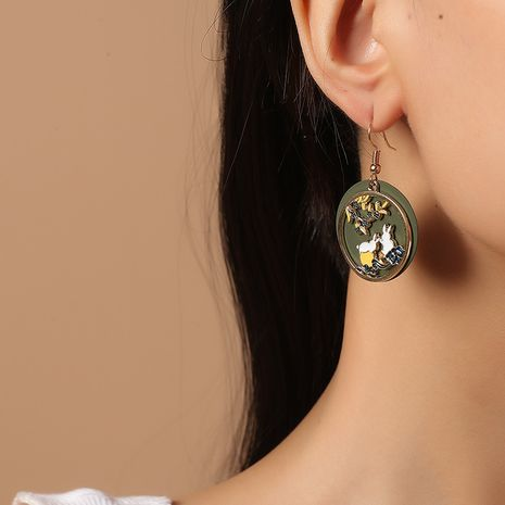 Korea fashion simple cute Chinese style traditional drip painting moon palace white rabbit earrings NHKQ261871's discount tags