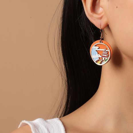 Korean fashion retro exaggerated round oil drop Chinese style traditional ethnic style painted earrings NHKQ261872's discount tags