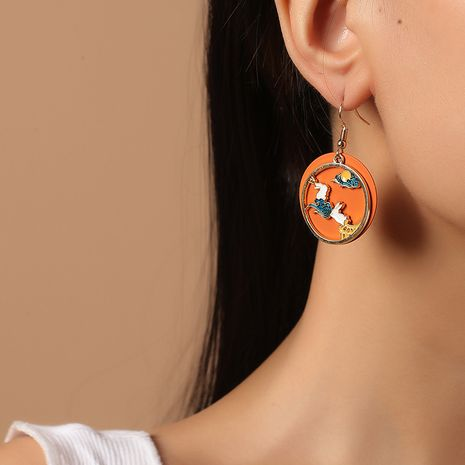 Chinese style fashion ancient ethnic style traditional oil drop Korean new niche moon palace rabbit earrings NHKQ261873's discount tags