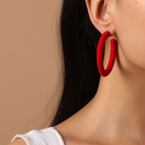 new fashion retro flocking C-shaped semicircle minimalist wild exaggerated earrings NHKQ261874's discount tags