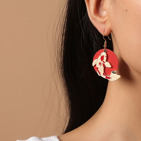 Korea Fashion Acrylic Exaggerated Retro Ethnic Style Round Red Koi Earrings NHKQ261878's discount tags