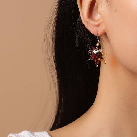 Fashion beautiful  Korean all-match gradient color epoxy maple leaf earrings NHKQ261880's discount tags