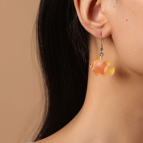 Cute sweet transparent fudge girls new goldfish earrings NHKQ261881's discount tags