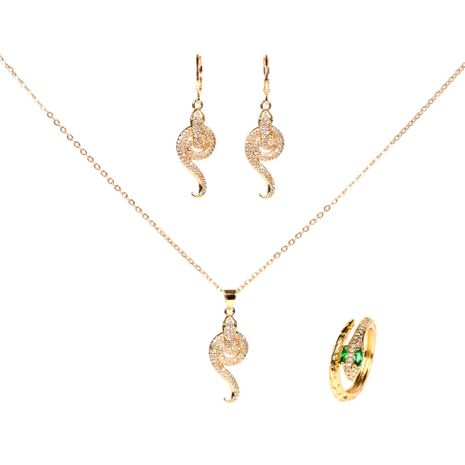 retro  snake-shaped diamond copper earring necklace set  NHPY261893's discount tags