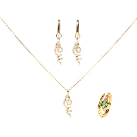 retro snake crystal diamond snake copper pendant clavicle necklace earrings  set  NHPY261894's discount tags