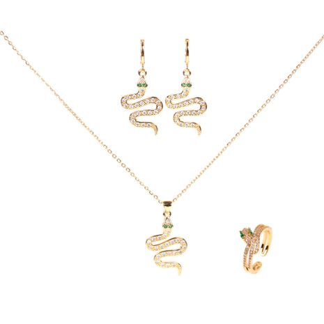 wholesale retro snake snake-shaped diamond copper earrings necklace set NHPY261895's discount tags