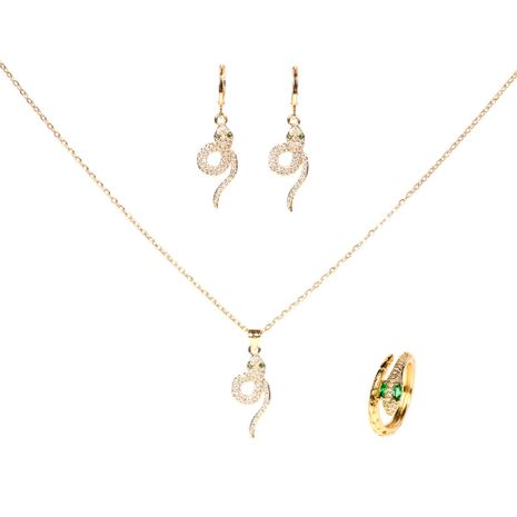 retro snake-shaped diamond earrings ring necklace three-piece set for women NHPY261896's discount tags