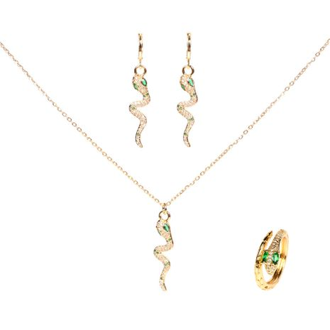 fashion snake diamond earrings ring necklace three-piece set for women NHPY261897's discount tags