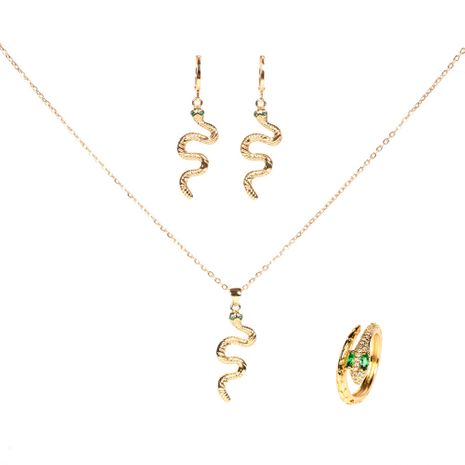 snake diamond pendant copper earrings ring necklace three-piece set for women NHPY261898's discount tags