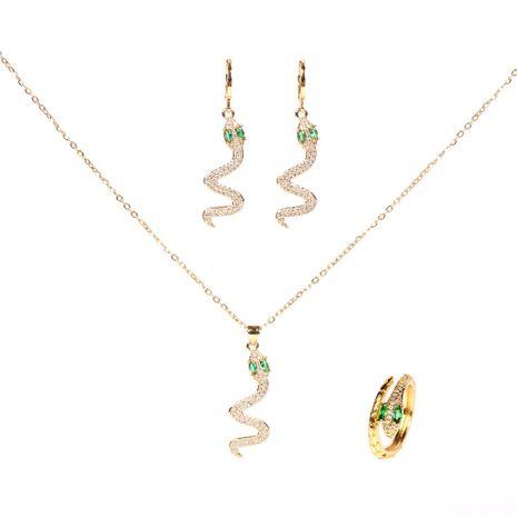 snake-shaped diamond retro snake animal pendant necklace earrings set wholesale NHPY261899's discount tags