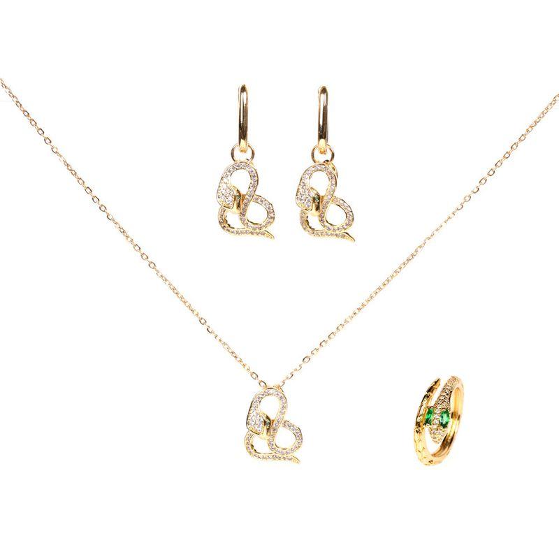 retro snake-shaped crystal diamond snake copper necklace earrings set  NHPY261900