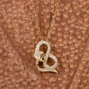 retro snakeshaped crystal diamond snake copper necklace earrings set  NHPY261900
