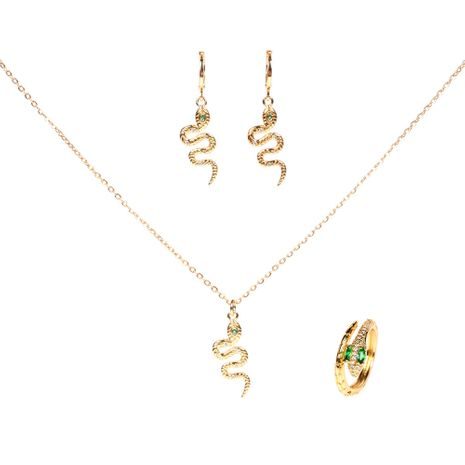 fashion snake diamond copper earrings ring necklace three-piece set jewelry NHPY261901's discount tags