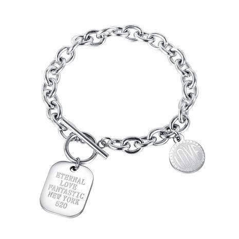 Vente chaude nouvelle mode coréenne disque carré sauvage boucle OT bracelet en acier au titane en gros NHOP261905's discount tags