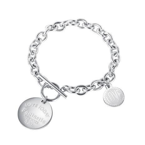 nouvelle vente chaude mode disque d'amour OT boucle dames bracelet en acier titane en gros NHOP261906's discount tags