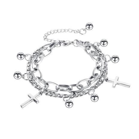 Corée nouveau classique sauvage croix ronde perle double bracelet en acier au titane en gros NHOP261908's discount tags
