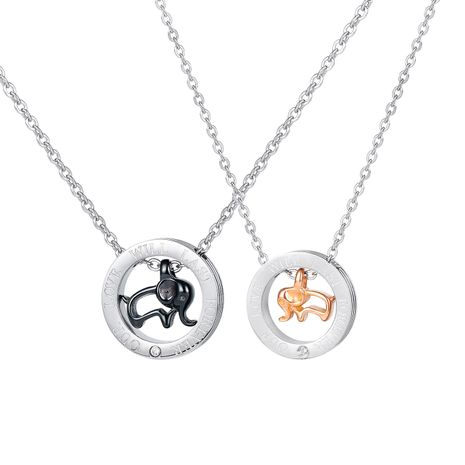 Collar de acero de titanio de pareja de elefante salvaje de tendencia coreana para hombres y mujeres NHOP261911's discount tags