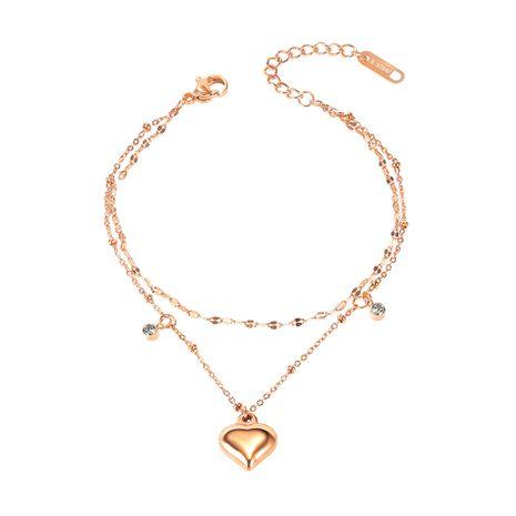 wholesale mode simple filles coeur pêche double bracelet de cheville en acier titane NHOP261917's discount tags