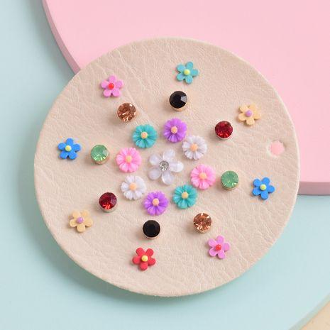 moda nueva flor de diamantes de imitación resina geométrica 12 pares de pendientes conjunto NHSD261979's discount tags