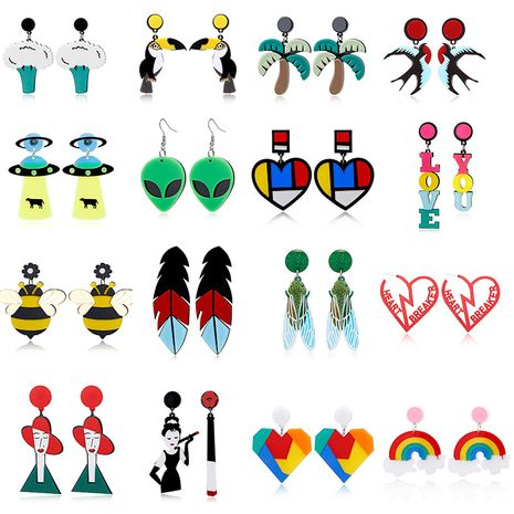 exaggerated acrylic woodpecker swallow spaceship feather cicada love rainbow cauliflower alien earrings NHXI261991's discount tags