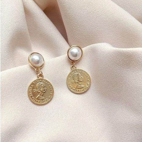 S925 Korean coin queen head retro pearl wild earrings  NHXI261993's discount tags