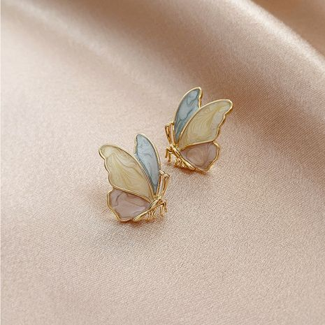 Fashion Color butterfly drip oil painted 925 silver needle Korean  alloy earrings NHXI261997's discount tags