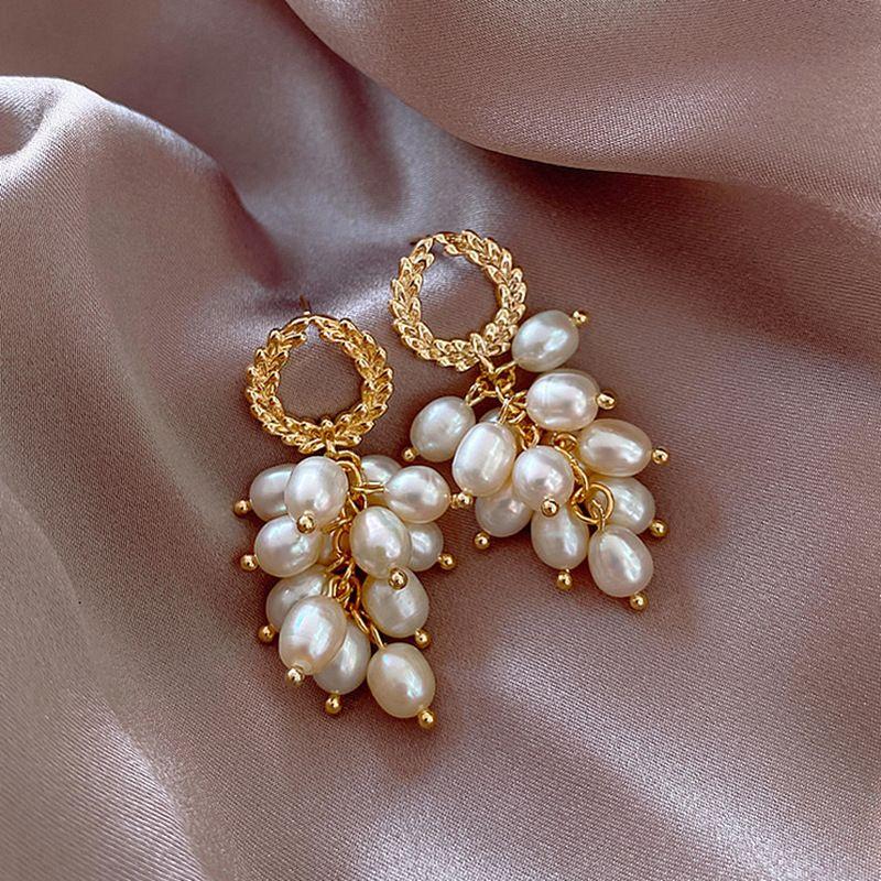 Fashion new S925 silver needle pearl grape bunch tassel wheat long earrings NHXI262005