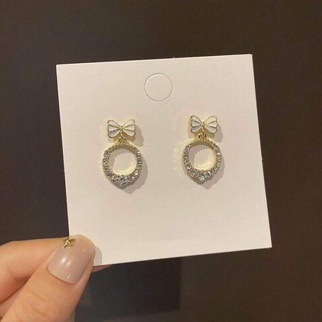 S925 silver needle Korean circle bow simple short diamond wild earrings  NHXI262006's discount tags