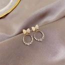 S925 Silbernadel Koreanischer Kreisbogen einfache kurze DiamantWildohrringe NHXI262006