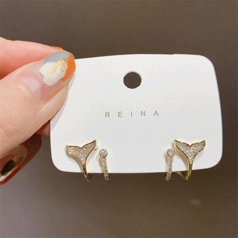 Korea's S925 silver needle simple micro-inlaid zircon fishtail wild earrings NHXI262009's discount tags