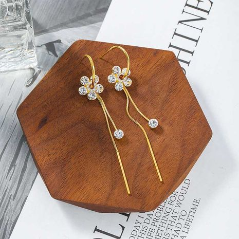 S925 silver needle Korean crystal tassel long petal alloy earrings NHXI262011's discount tags