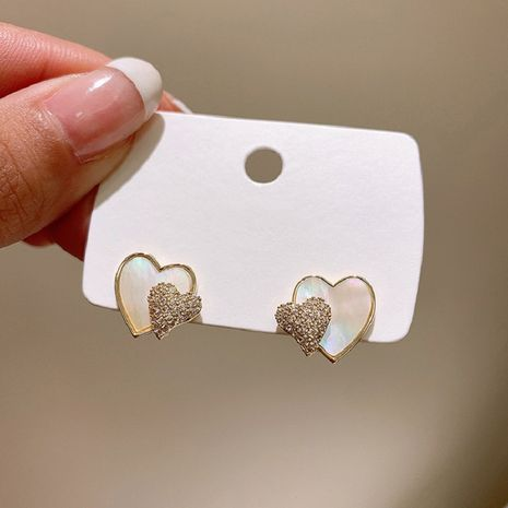 925 Korean simple compact diamond shell love silver needle earrings  NHXI262013's discount tags