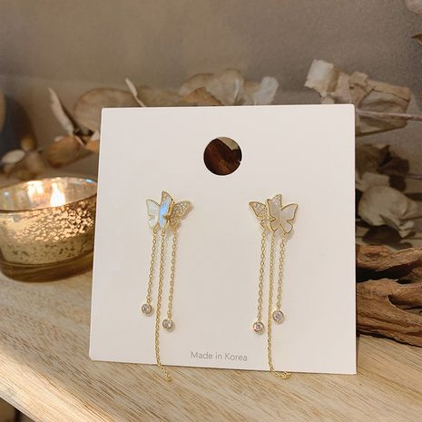 S925 Silver Needle Shell Rhinestone Double Butterfly Tassel Long Earrings NHXI262019's discount tags