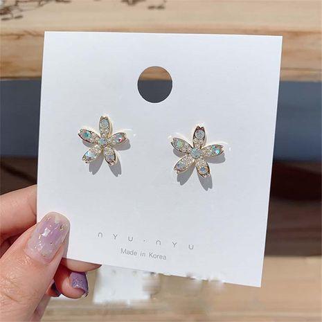Korea flower diamond-studded color diamond S925 silver needle  petal earring  NHXI262022's discount tags