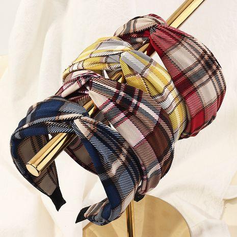 Korean new fabric seam checkered wide-brimmed headband  NHAU262042's discount tags