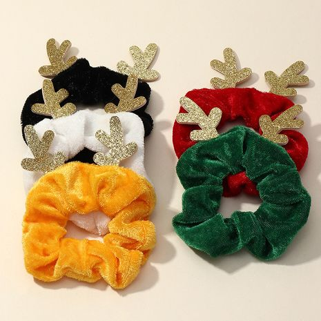 Korean Christmas Antler Flannel High Elastic  Hair scrunchies  NHAU262046's discount tags