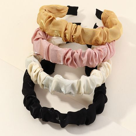 Korean new fabric  solid color wide-sided fold-covered cloth headband NHAU262048's discount tags