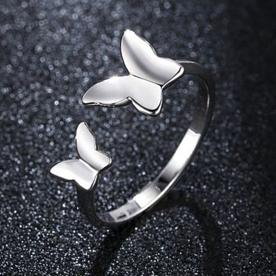Nouvelle mode simple papillon amour bague ouverte papillon volant bague pour femme NHKN262057's discount tags