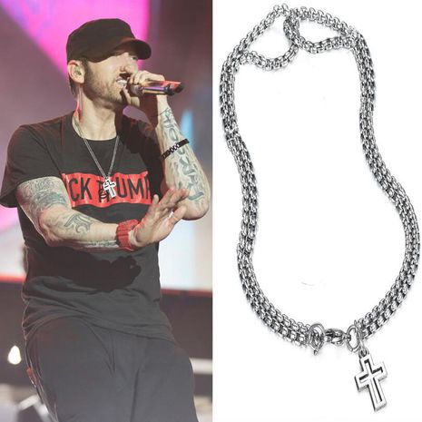 Hip-hop style trendy fashion wild men's double chain cross necklace NHKN262058's discount tags