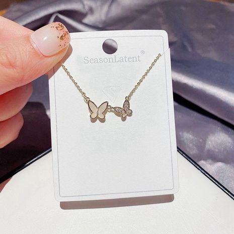 New Korean fashion natural shell zircon micro-inlaid two butterfly copper  necklace  NHCG262060's discount tags